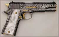 A pistol engraved by John Barraclough.